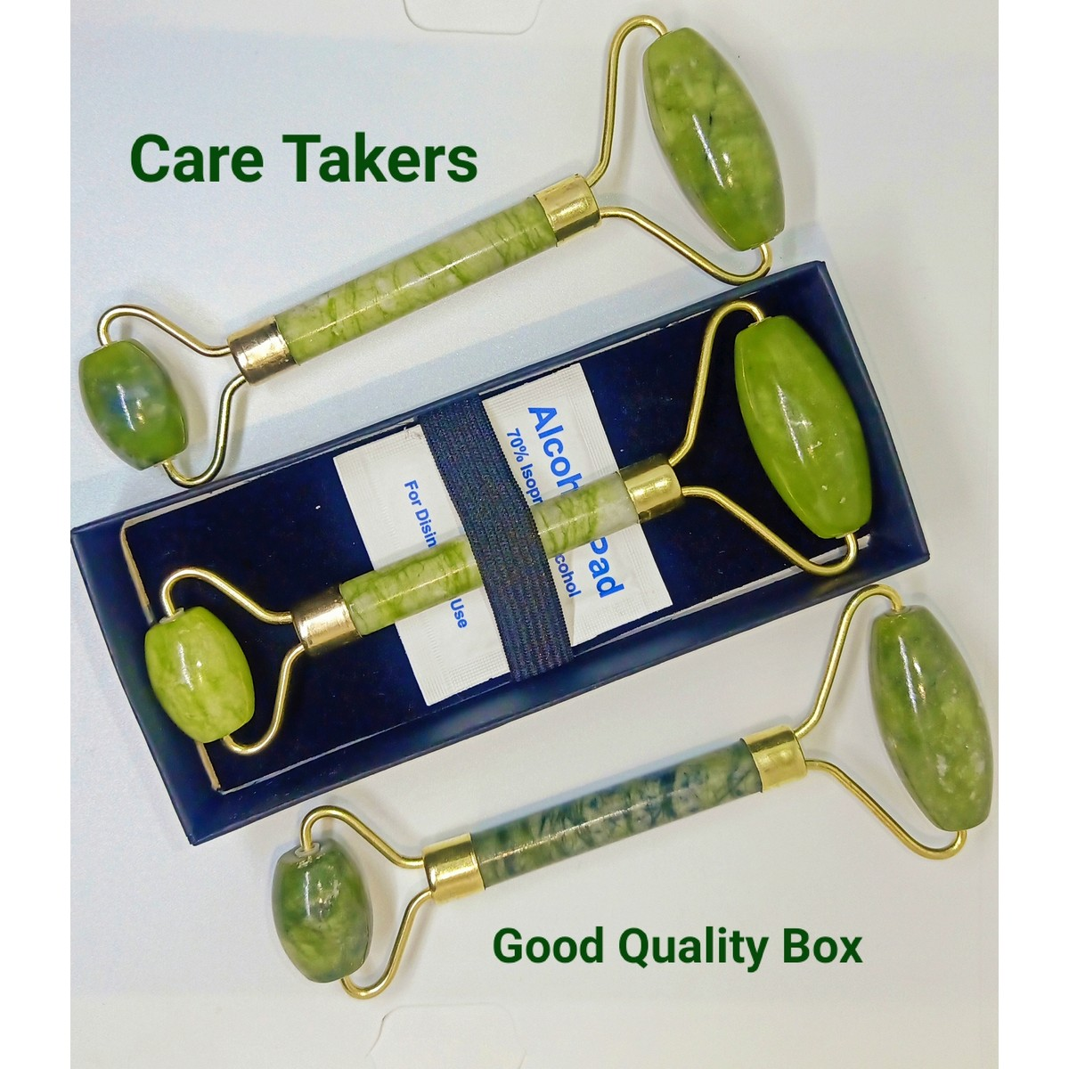 Jade Roller for Face - Face & Neck Massager for Skin Care, Facial Roller to Press Cream and Oil, Lymphatic Drainage Massager Skin Care Tool, Eye Massager and Neck Roller With Box