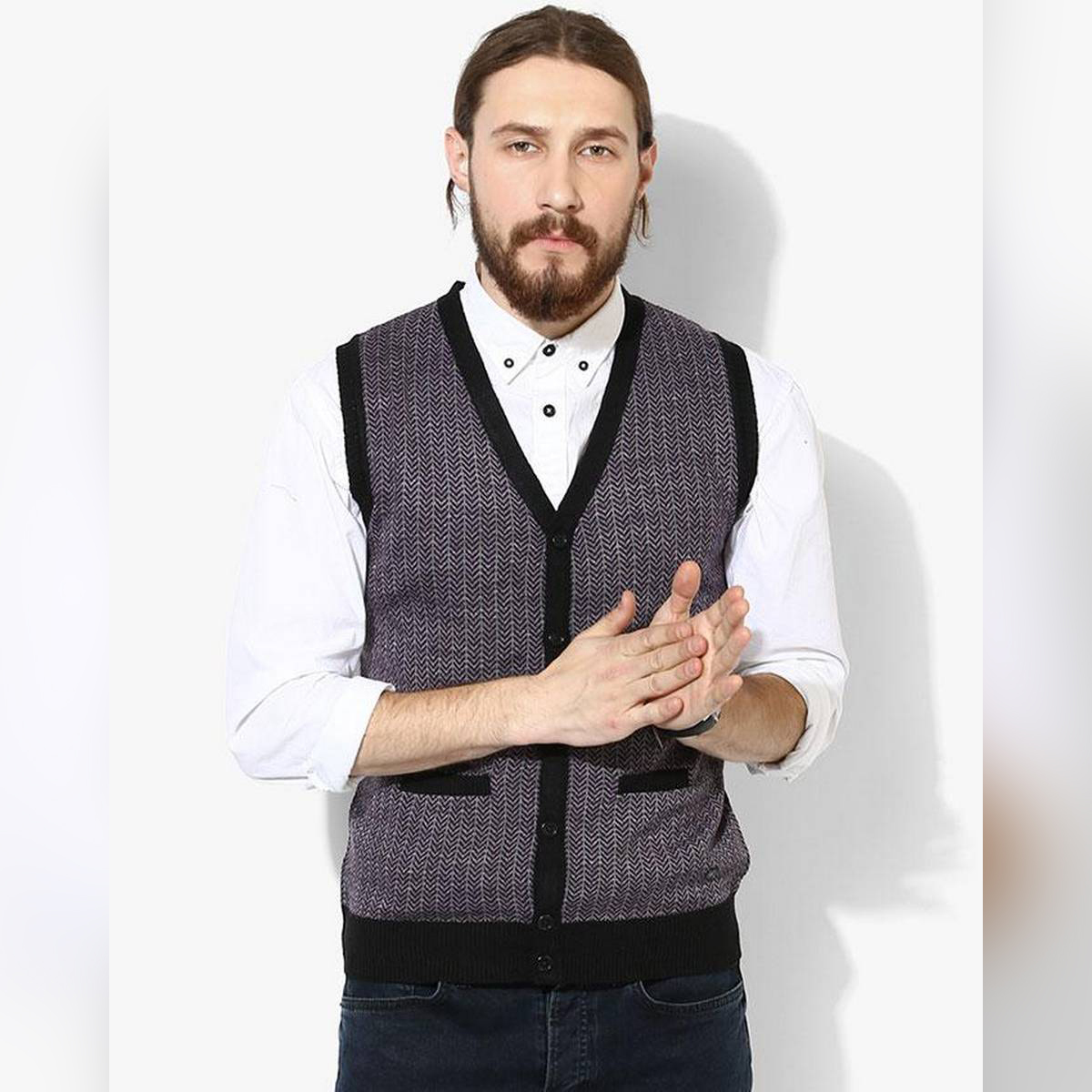 Grey & Black V-Neck Sweater for Men