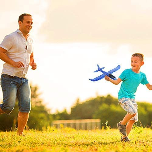 Foam Airplane Hand Throwing and Launching Toy, Flight Mode  Light Weight Glider Inertia Model, Out door Interesting Play gift For Children & Adult - Small Size (35 x 35) with Multi colors