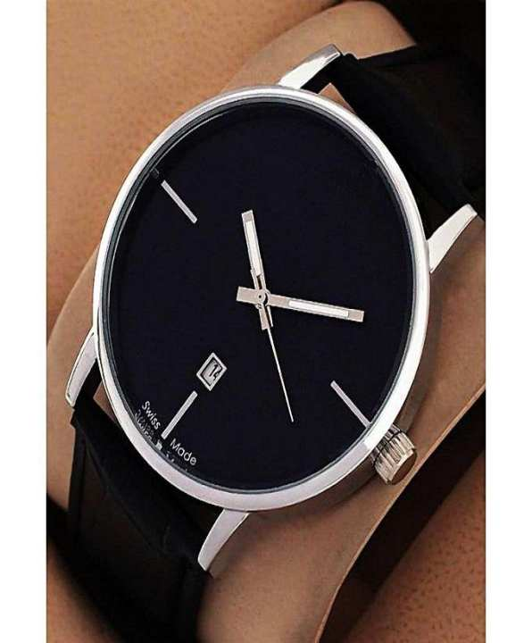 Black Strap Watch For Men - Black With Date