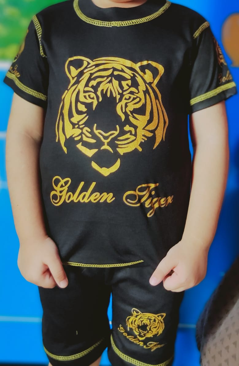 Kids Cloth Golden Tiger Kids Suit Printed T Shirt-Pajama