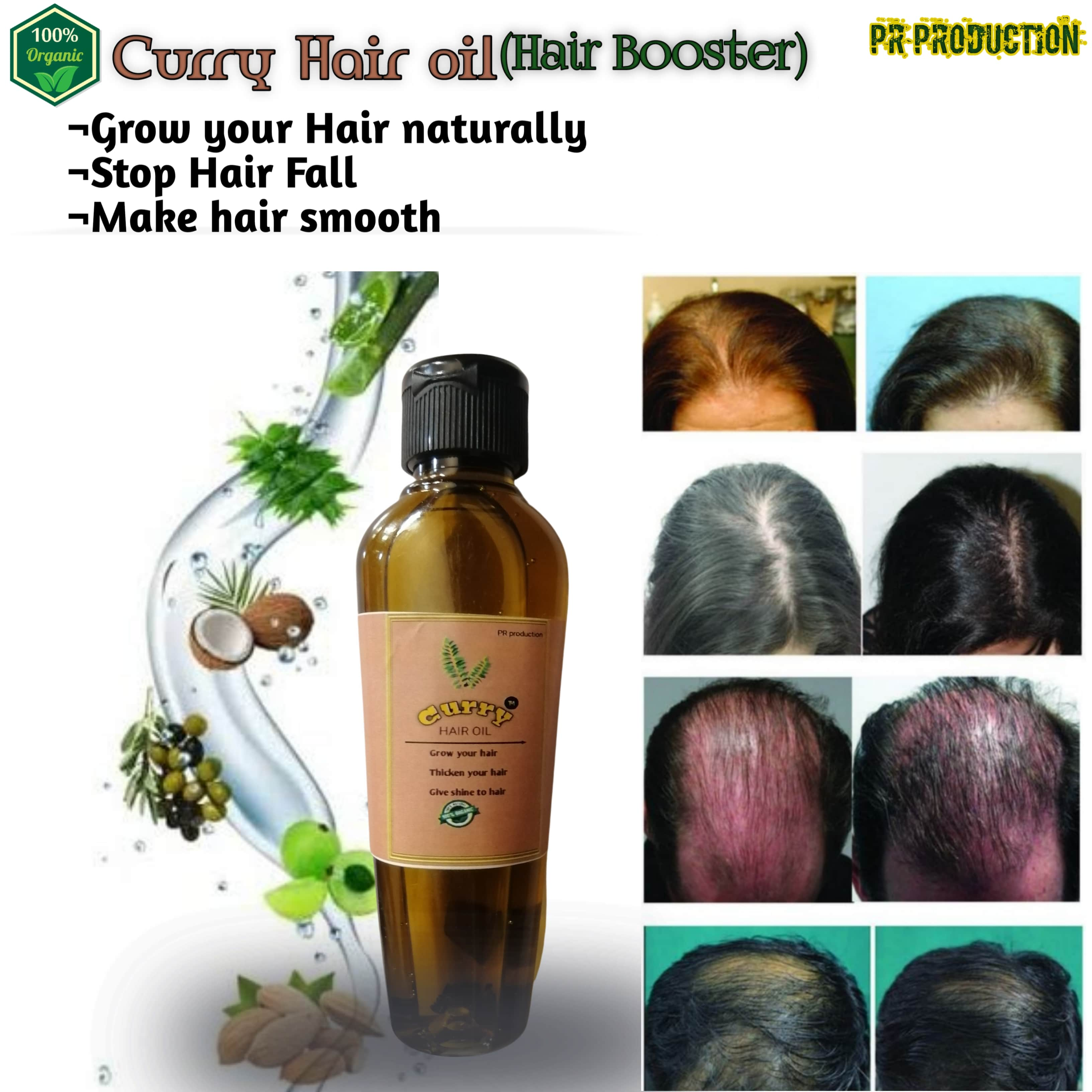 Curry Hair Oil For Long and Thick Hairs - Both For Men and Women - Organic Hair Oil - Anti Hair Fall Oil