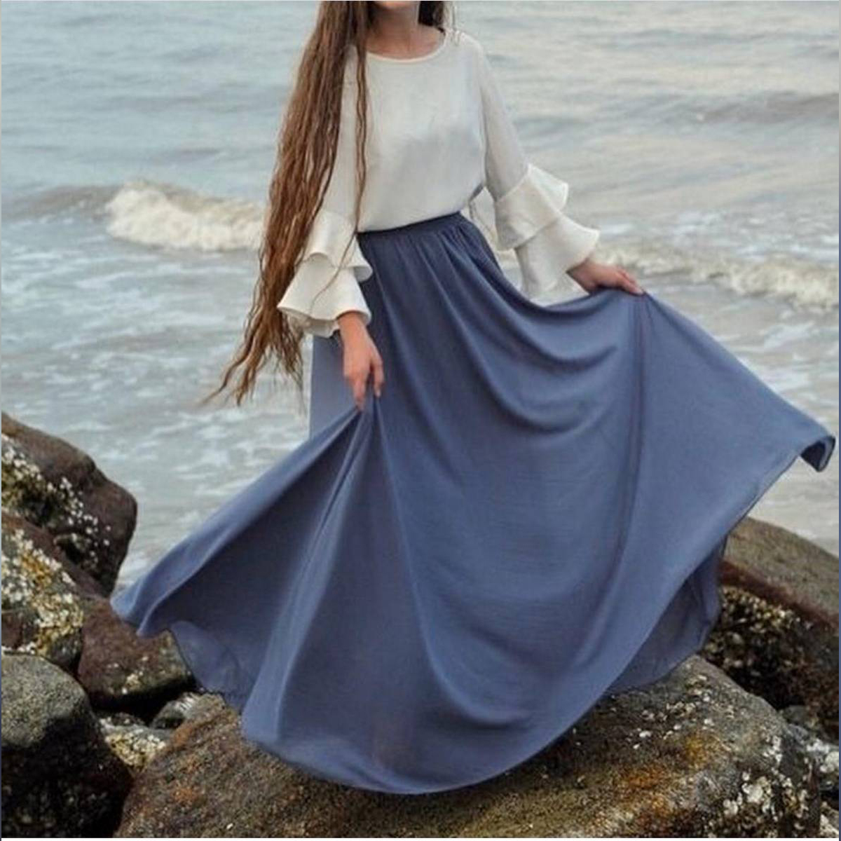 flared skirt with white shirt