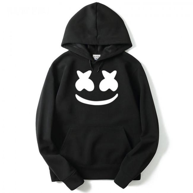 Marshmallow Hoodies for Men Hoodie Marshmallow DJ Smiley Face Men Pullover Hoodie