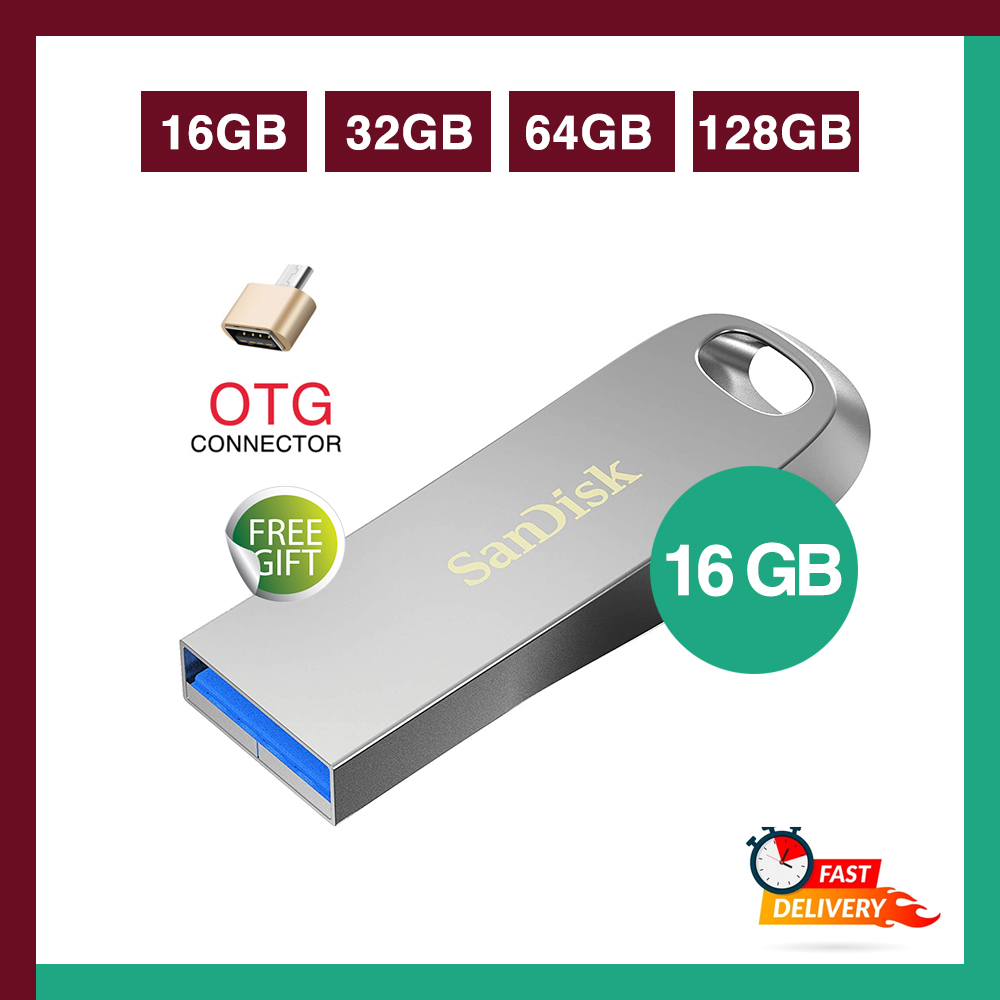 SanDisk 16/32/64GB Ultra Luxe High Speed 3.1 Flash Memory Stick USB Drive, Speed Up to 150MB/s - Free OTG Connector - 6 Months WARRANTY