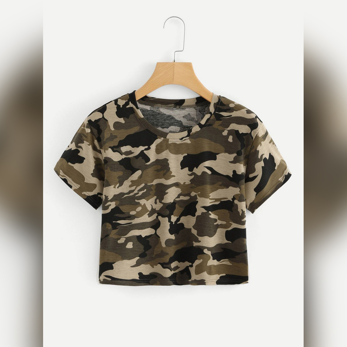 Stylish  Camouflage Crop Top For Ladies