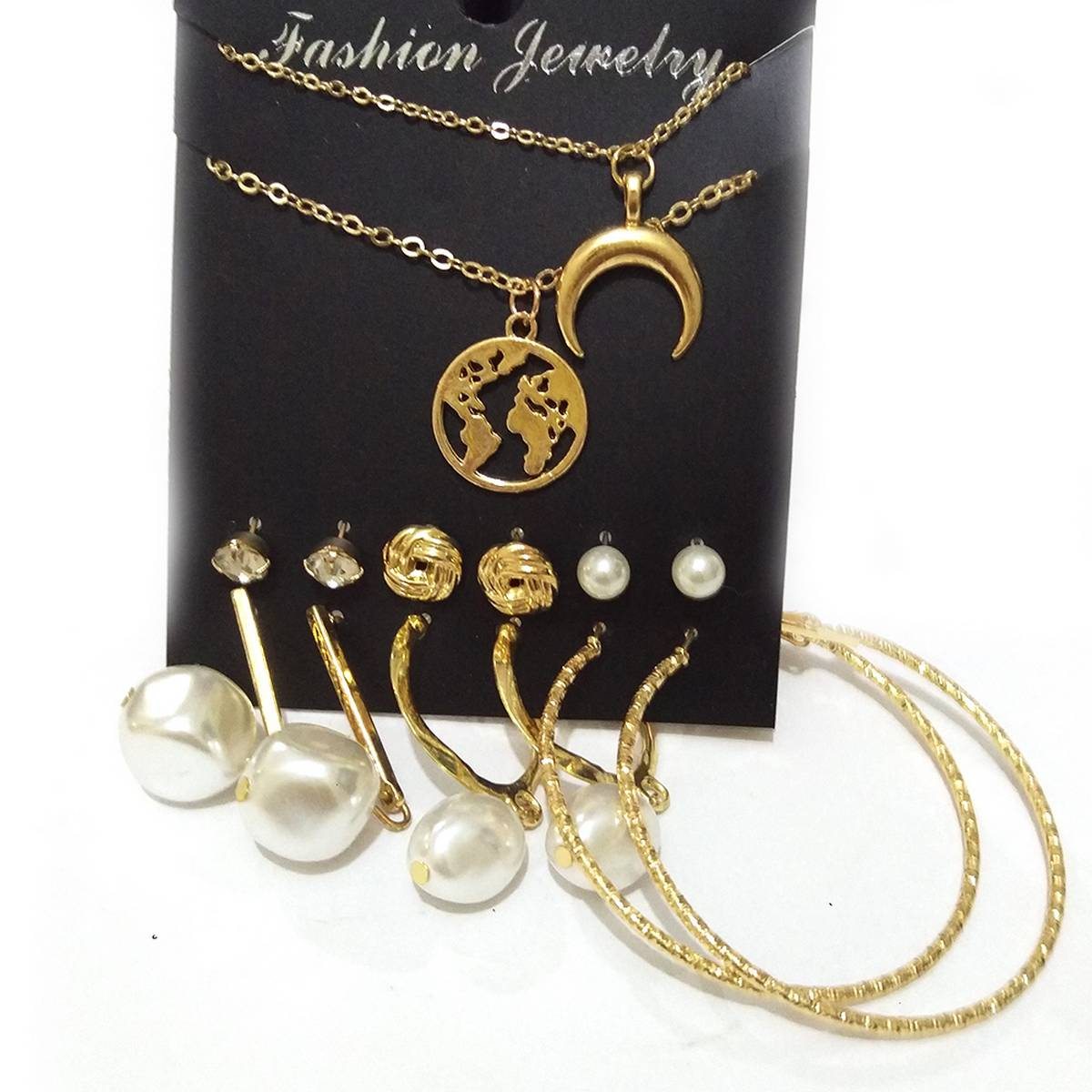 Pack of 8/Ear Rings Hoop and studs chains with pendants- Beautiful and trendy - Traditional elegant design ear rings for girls and women
