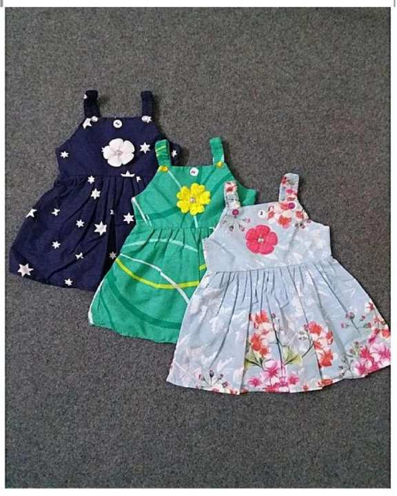 Pack Of 3 Multi-Color Printed Cotton Frock For Girls