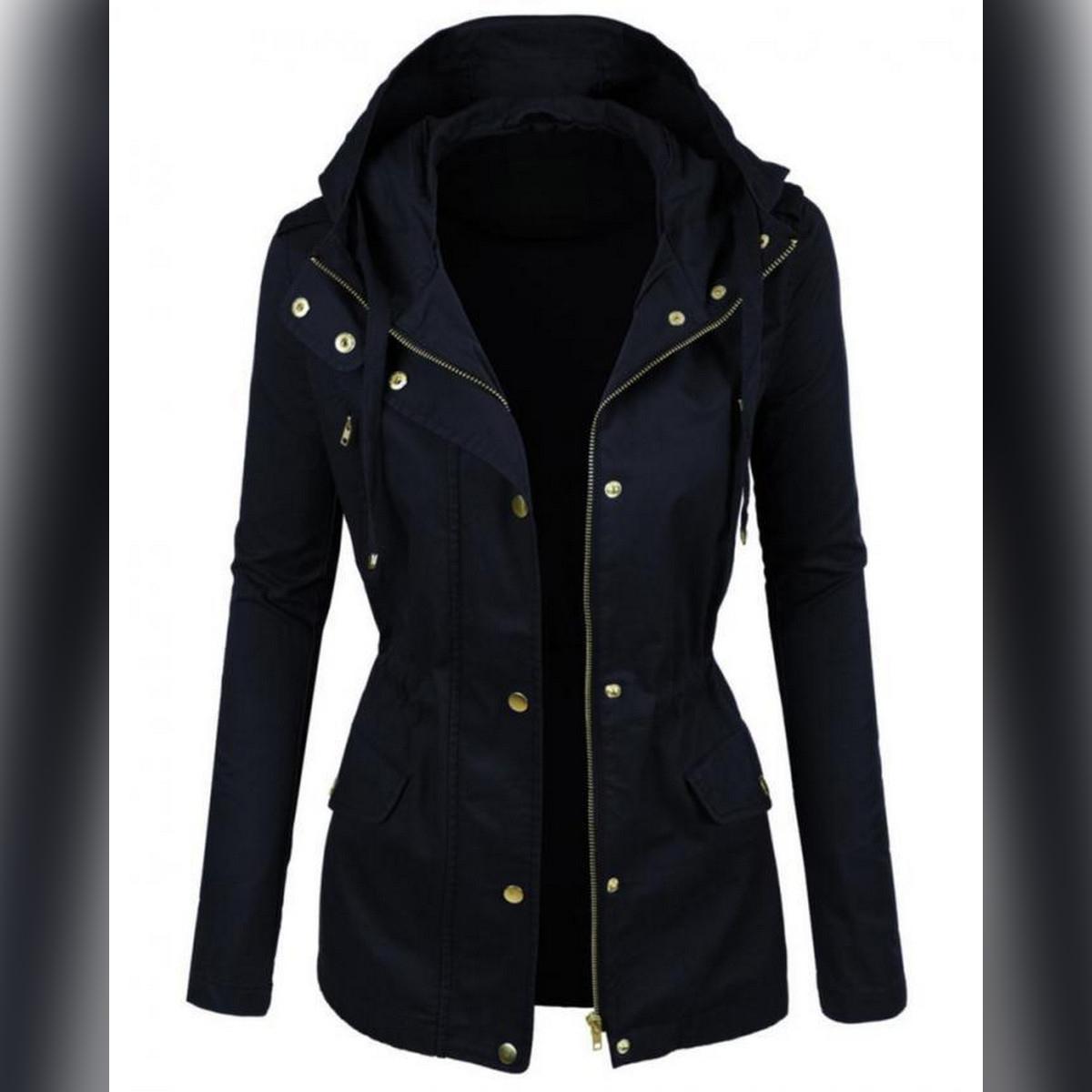 Navy Blue Parka Jacket For Women