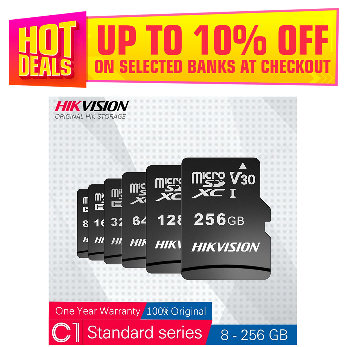Hikvision 64GB microSD Memory Card W/Adapter HS-TF-C1