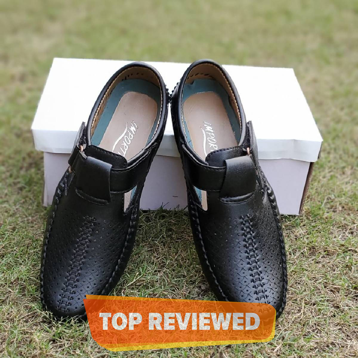 Black Synthetic Leather Driving Sandals For Men By Importia