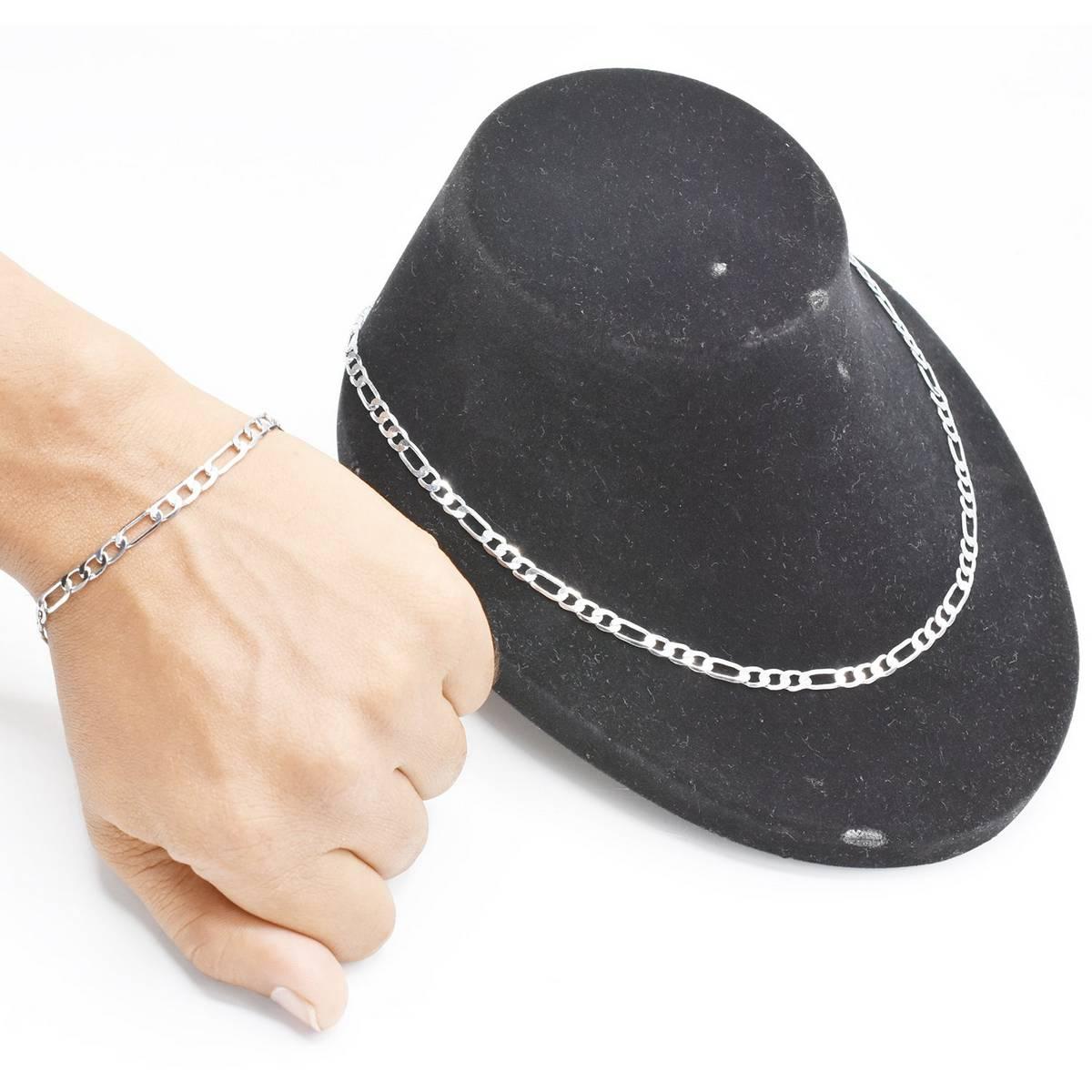 Silver Jewelry Set For Men Chain Necklace Bracelet