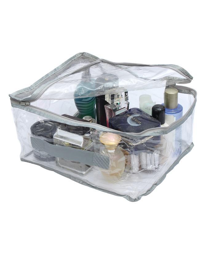 Grey Cosmetic Bag Organizer Makeup Storage Jewellery Vanity Box (Transparent)
