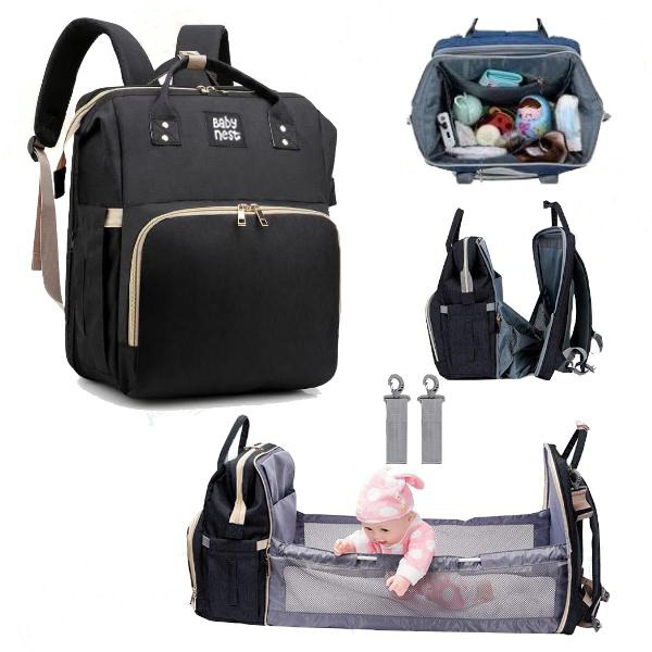 3 in 1 Diaper Bag Backpack with Changing Station, Travel Bassinet Foldable Baby Bed, Baby Bag Portable Crib, Mummy Bag, Large Capacity, Waterproof