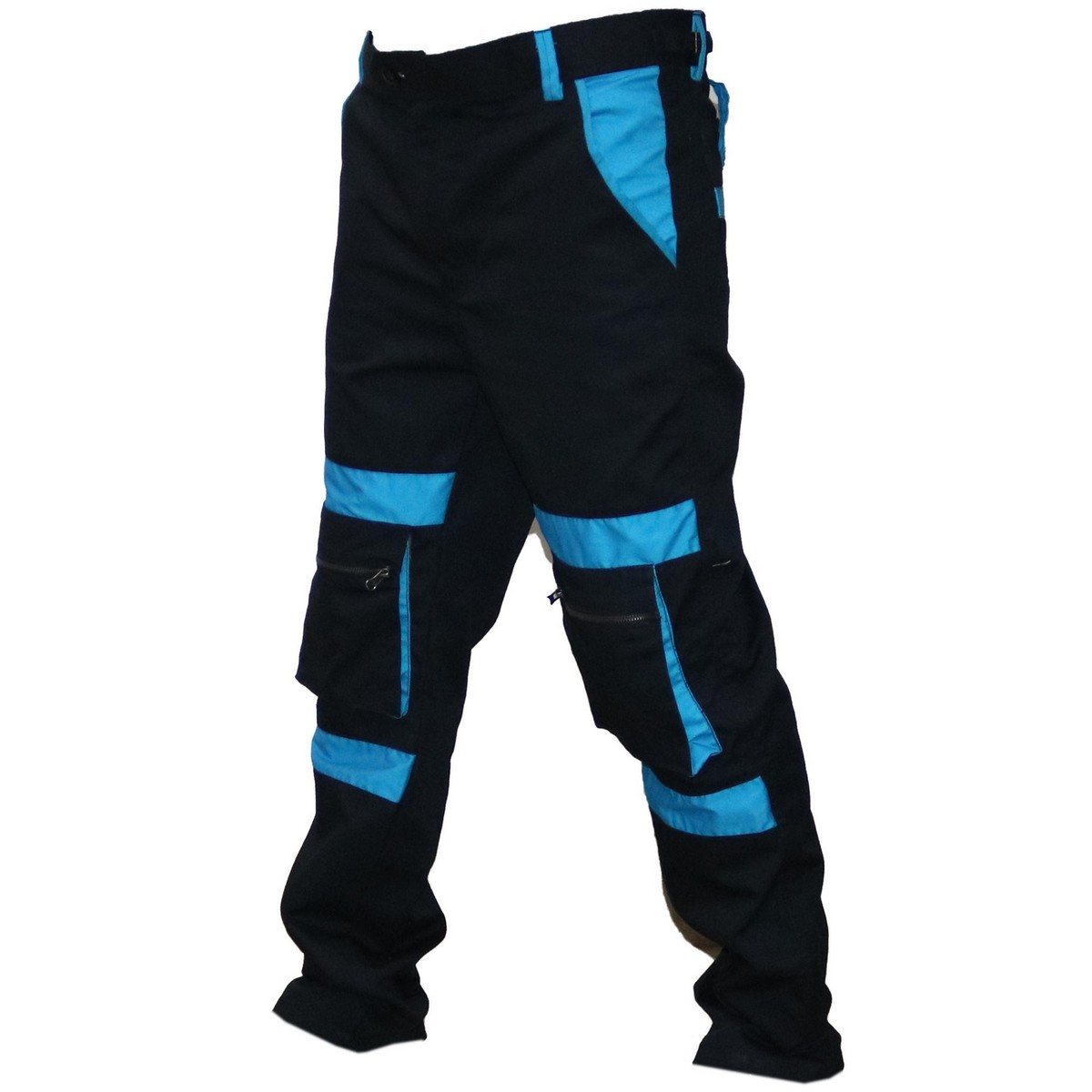 Two Tone Black & Blue Cargo Trouser Cargo Pants