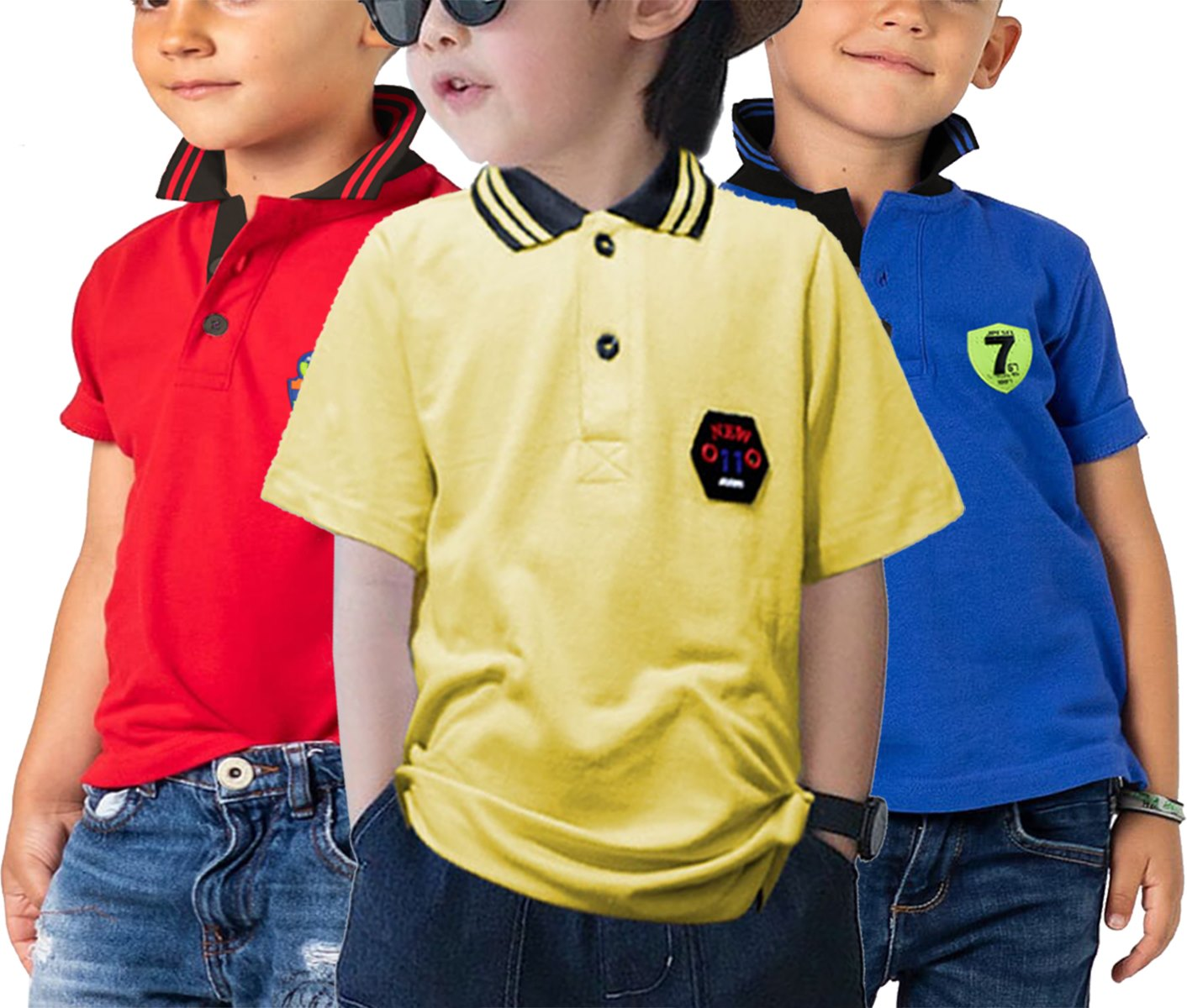 Bindas Collection Pack Of 3 Exclusive Half Sleeves Summer Pk Jersey Polo For Kids