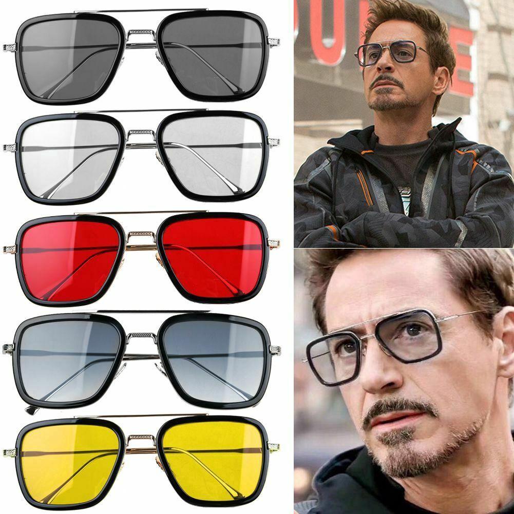 New Fashion Tony Stark Iron Man Square Sunglasses Trending Punk Sun Glasses For Men Vintage Metal Frame Retro Shades