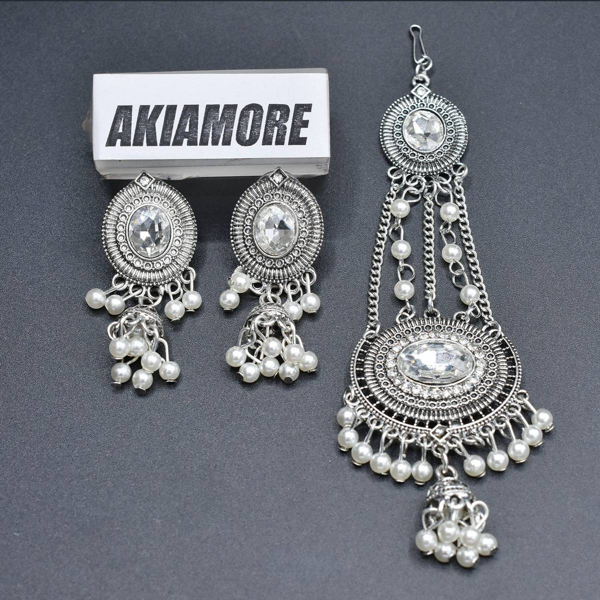 Antique Golden and Silver Mang Tikka With Earrings and White Pearl Jewellery Set For Women