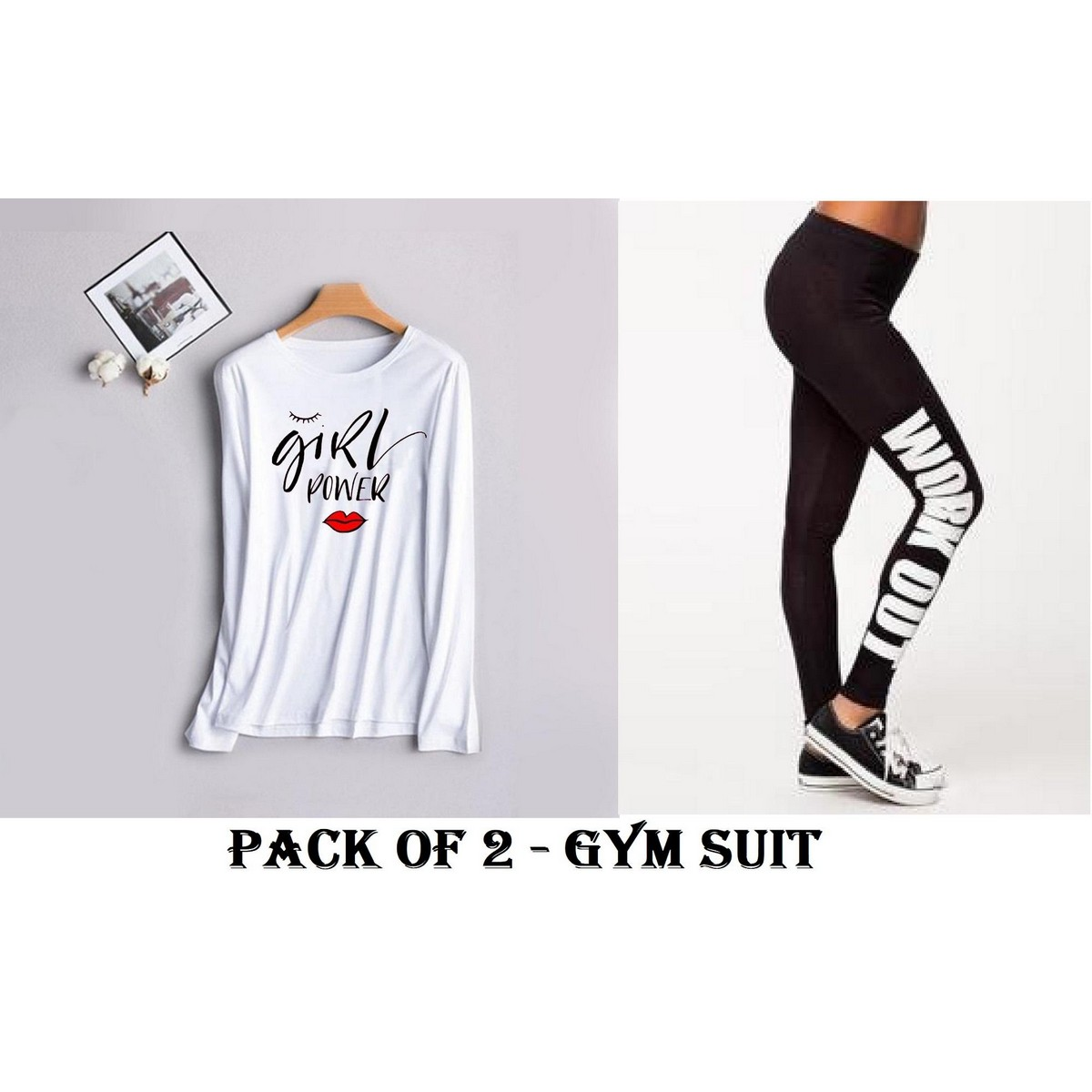Girl Power Full Sleeves GYM Jogging Work Out Yoga Suit for Women