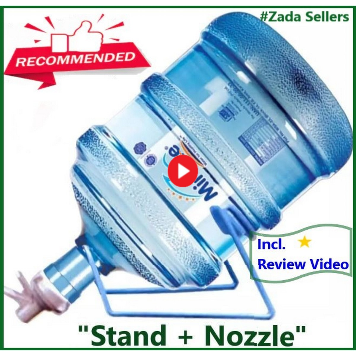 19 L Liter Water Bottle Stand And + Nozzle / Dispenser Valve / Tap for 19L Litre Large water bottles - 19 Ltr - Water bottel  Stand And Nozzle - High Quality Water bottle Holder+nozzle For ~ 19 / 20 Litter Cans - Shop with Zada Sellers - Multicolor