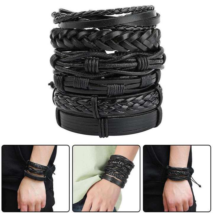 Pack Of 6 - European Vintage Premium Quality Leather Bracelet For Men and Boys