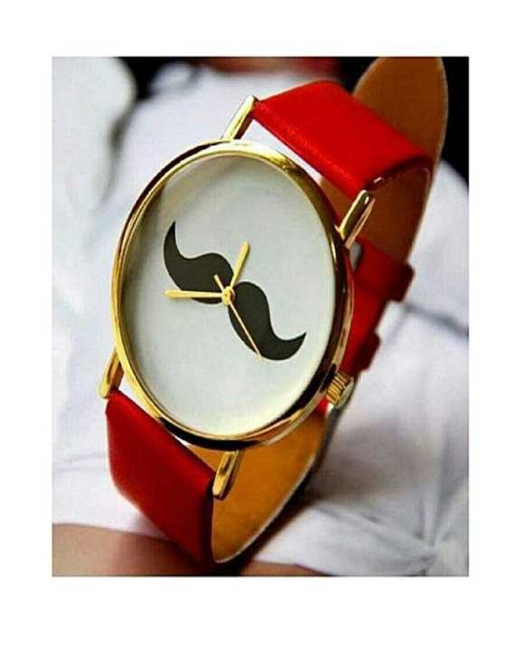Mustache Watch For Unisex - Red