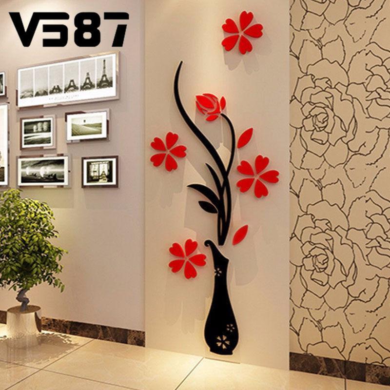 Flower Decal 3D Mirror Wall Sticker DIY Removable Art Mural Home Room Decor