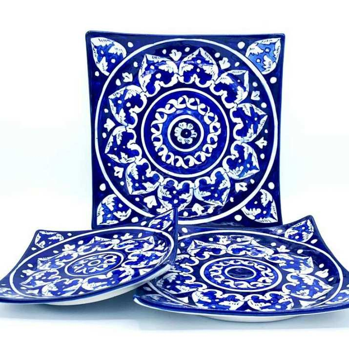 Blue Pottery Square Dish Set, Hand Made, Hand Painted, Set of 3 serving Dishes,(L) (M) (S)