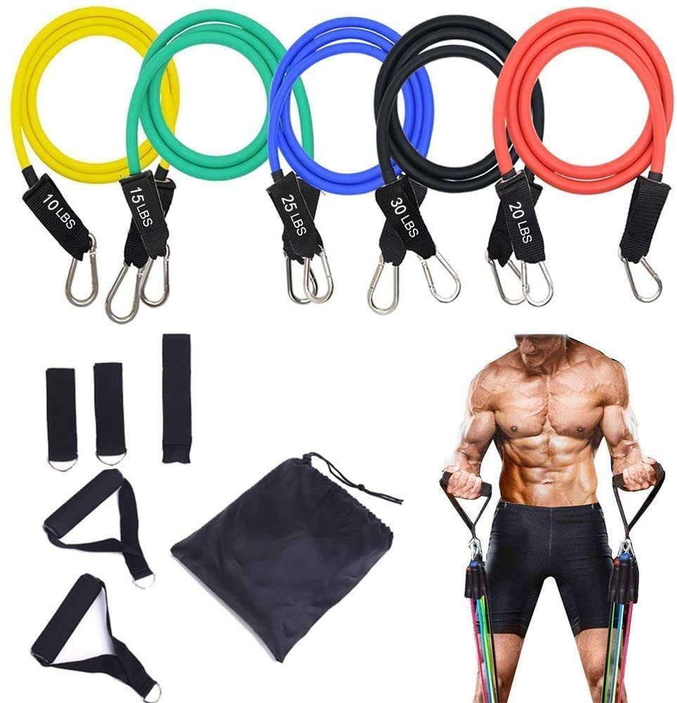 Resistance Bands Set - 5-Piece Exercise Bands - Portable Home Gym Accessories - Stackable Up to 150