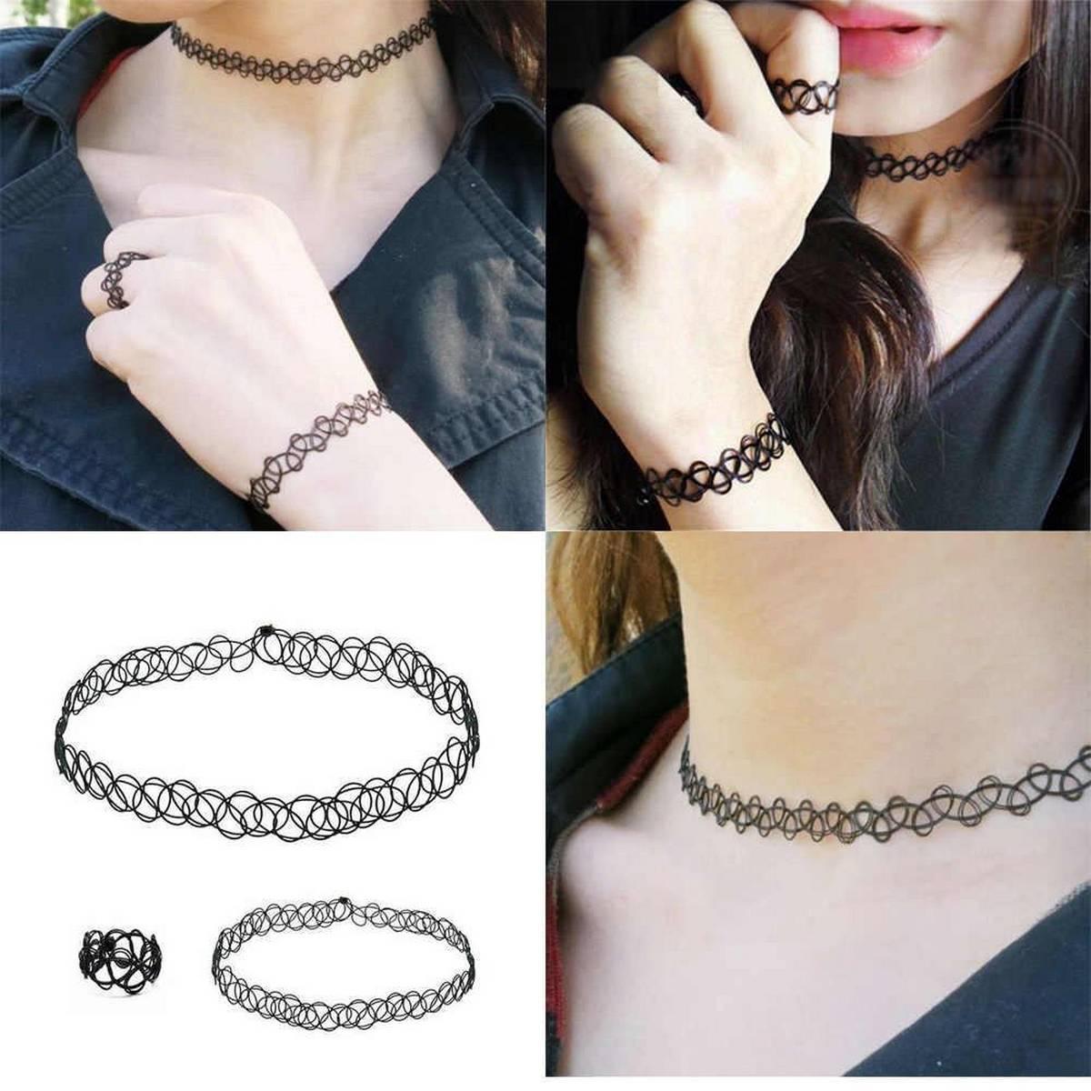 Retro Tattoo Choker Stretch Necklace/SET Black Elastic Jewelry Charms Bracelet & Necklace