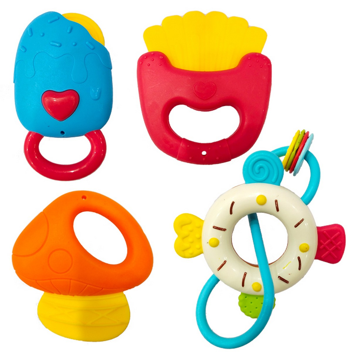 Pure Silicone & Plastic Baby Teather & Rattle Set - 4 PCS