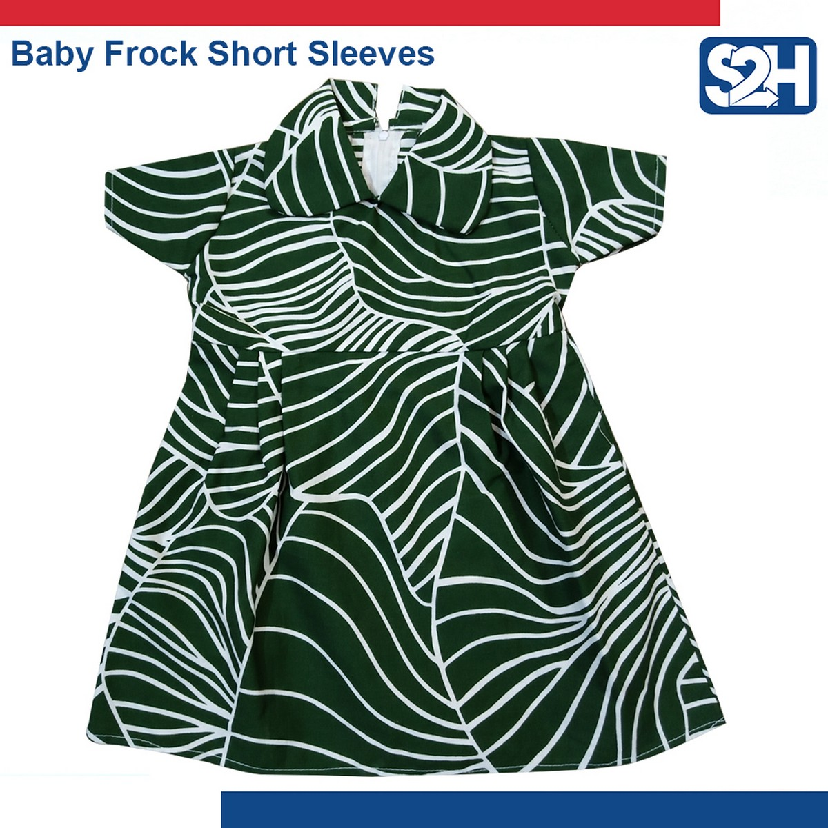 Printed Baby Frock Casual Wear Short Sleeves Collar Nec Frocks for Girls - 1 Pcs
