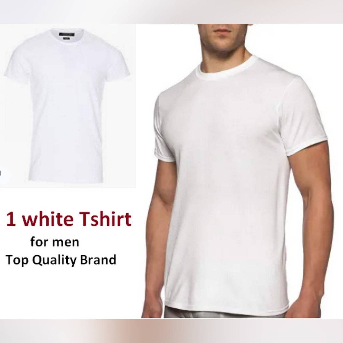 Plain White Neck Cotton Half Sleeve Tshirt For Men Best for Sport Gym and night