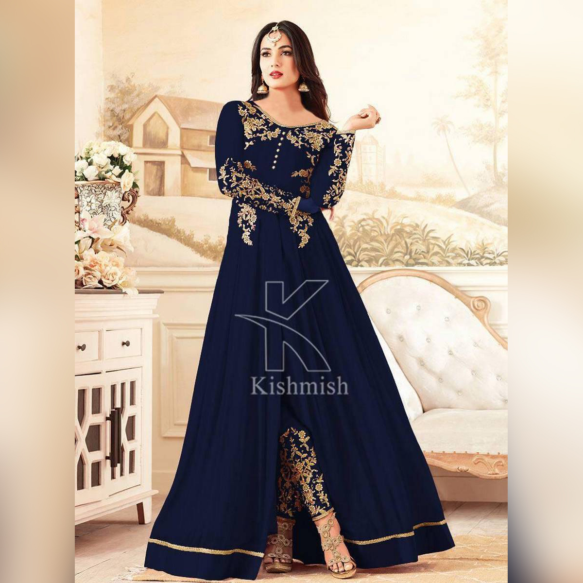 HY Boutique Maxi Frock Embroidery 2 Pcs Suit, Top, ready to Wear, Big Gheer Ready to Wear., Stylish stitched //HY Boutique Designer, Gota lace 2 piece without Dupatta / for Sweet Girls /best Tick Tocker's collection, party wear summer collection for Littl