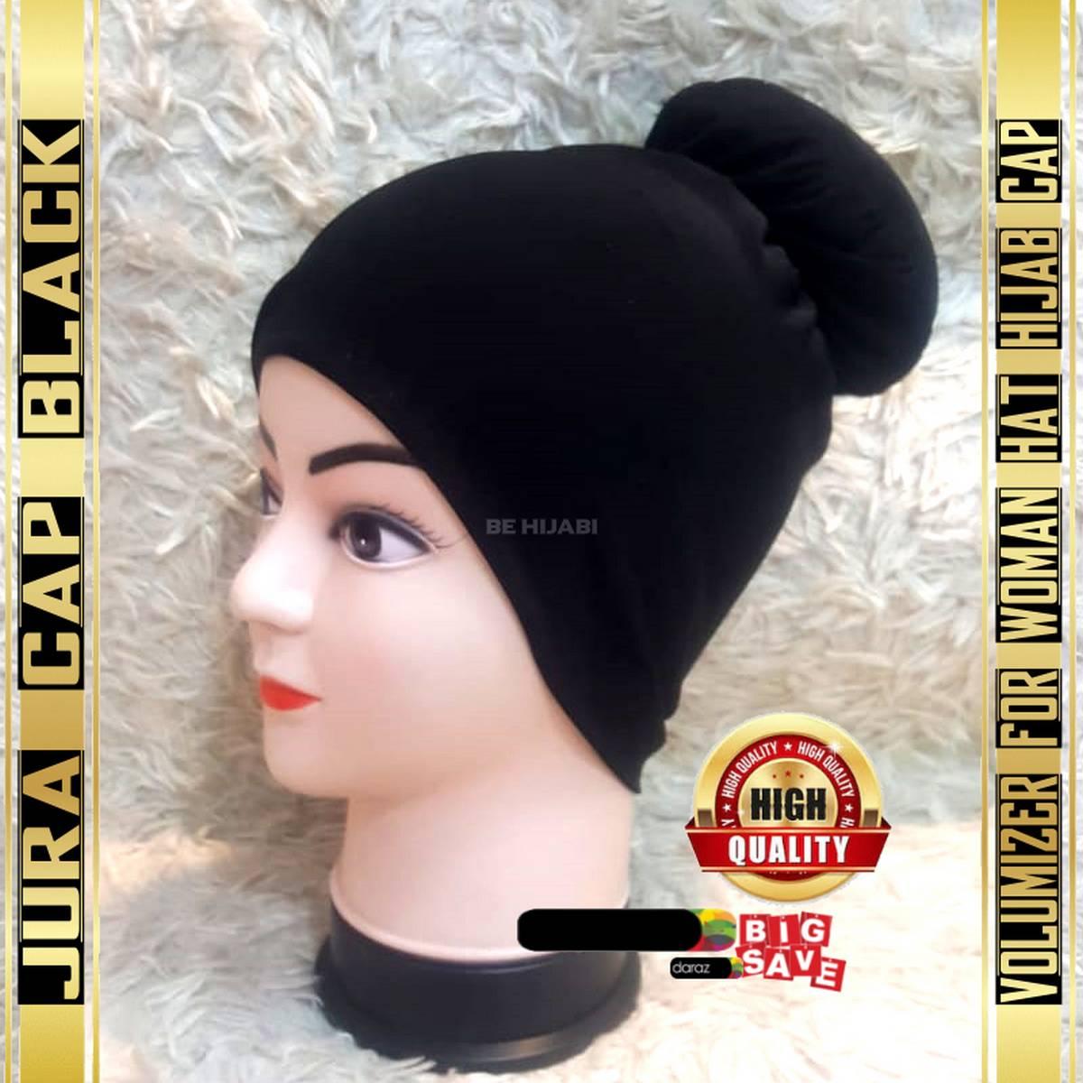 Jura Cap Black Volumizer For Woman Hat Hijab Cap