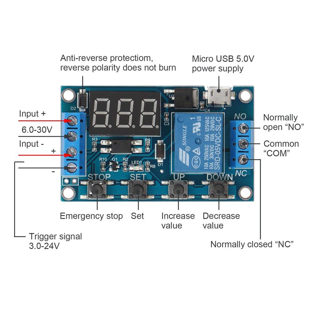 6-30V Digital Time Relay Module Trigger Cycle Timer Incubator Timer Module for egg incubator