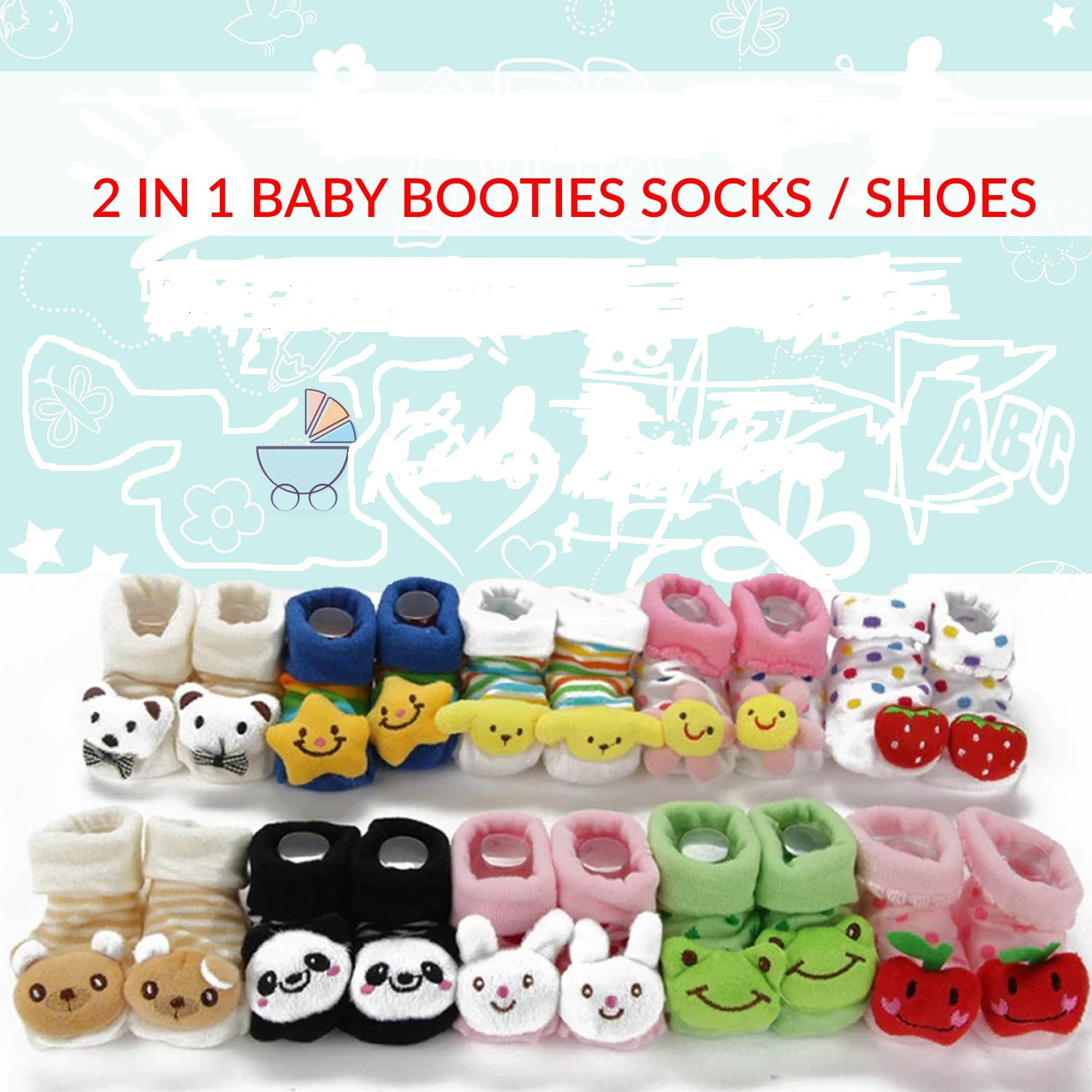 Cute Baby Booties Fabric Shoes For Winters - 0 to 12 Months Babies