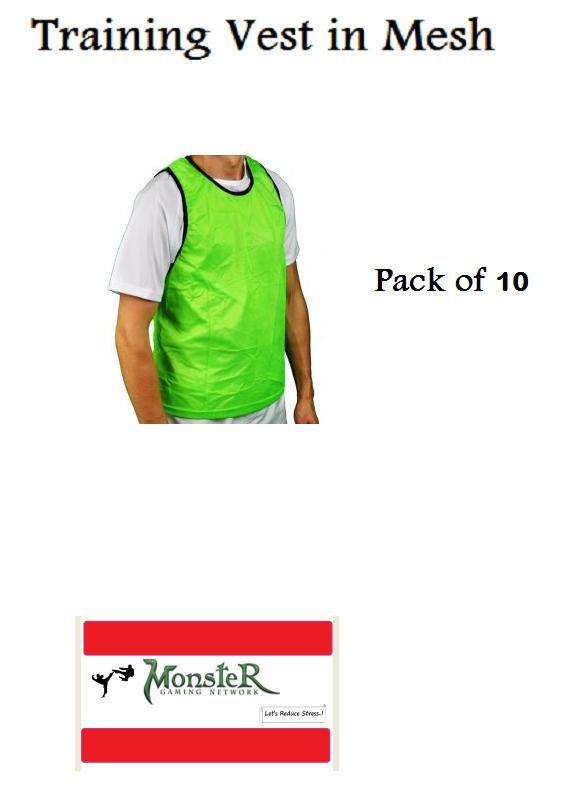Football Bibs Vest In Mesh Training Vest  football hockey vest green 10 Pcs.
