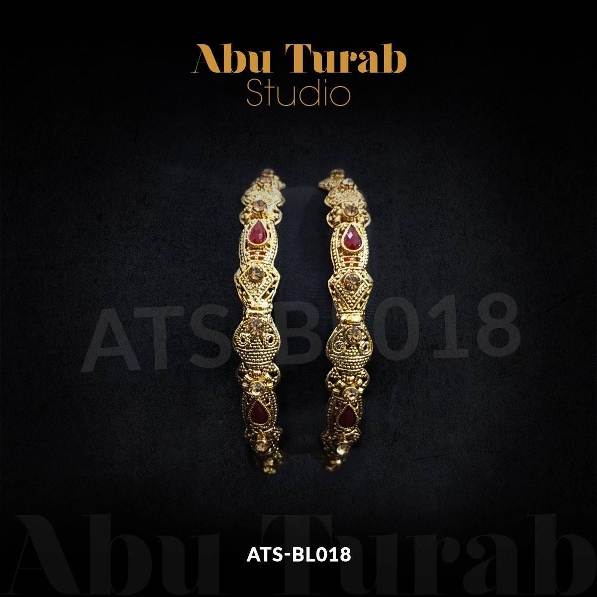 Abu Turab Studio - Golden Kundan Karray   Barat Bangles Set With Maroon Stones and Meenakari Work   Wedding Bangles Set (2 pieces)
