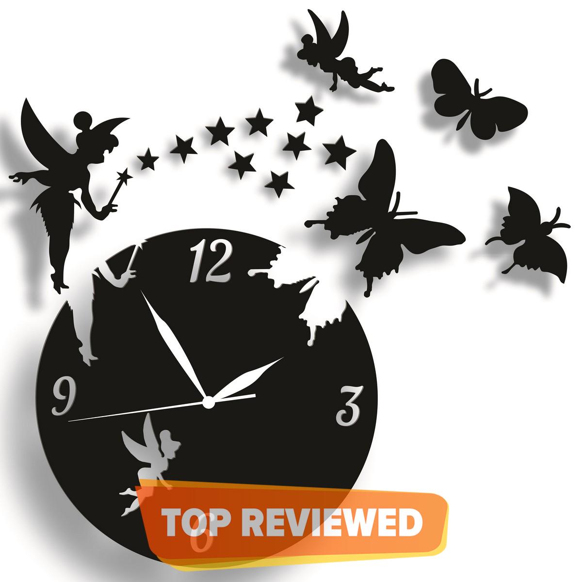 Fairy Wooden Wall Clock, Girls Room 3D Laser Cut Wall Clock In Modern Fairy With Stars & Butterflies