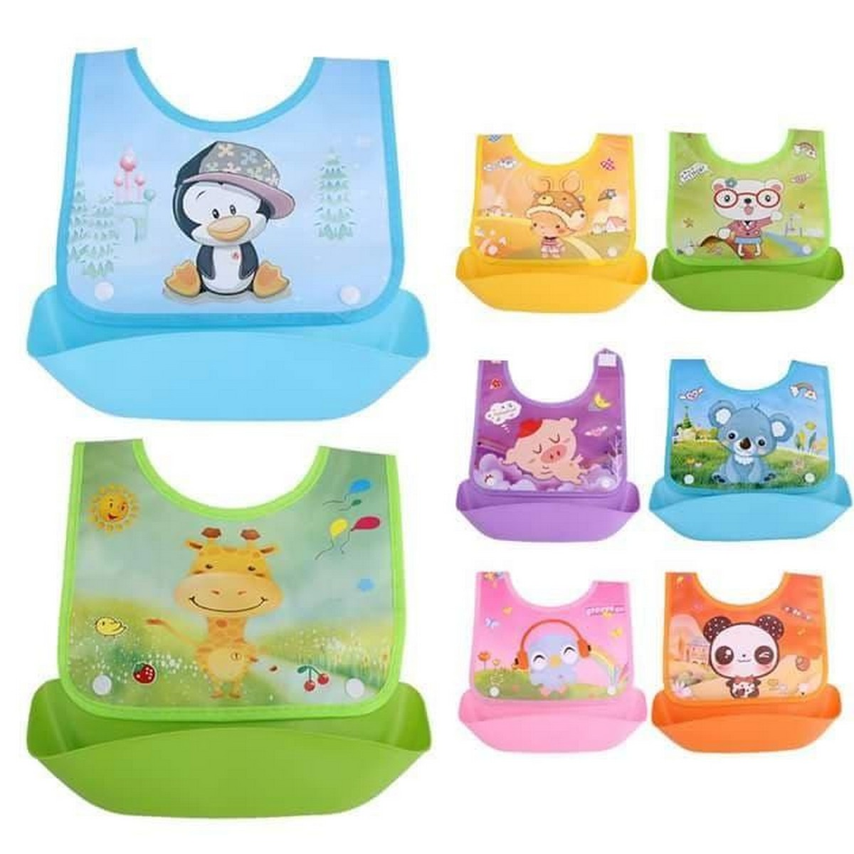 Waterproof Baby Plastic Bib - Multicolor