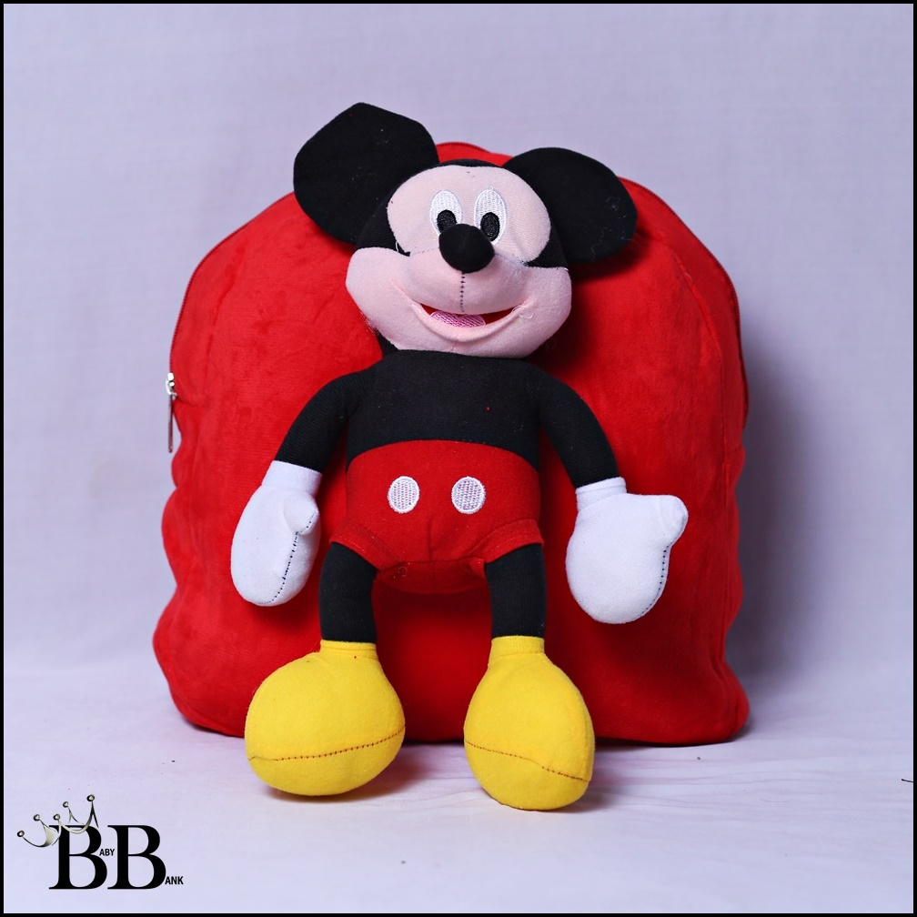 Premium Mickey Mouse Red Doll Character Kids School Bag For Boys and Girls