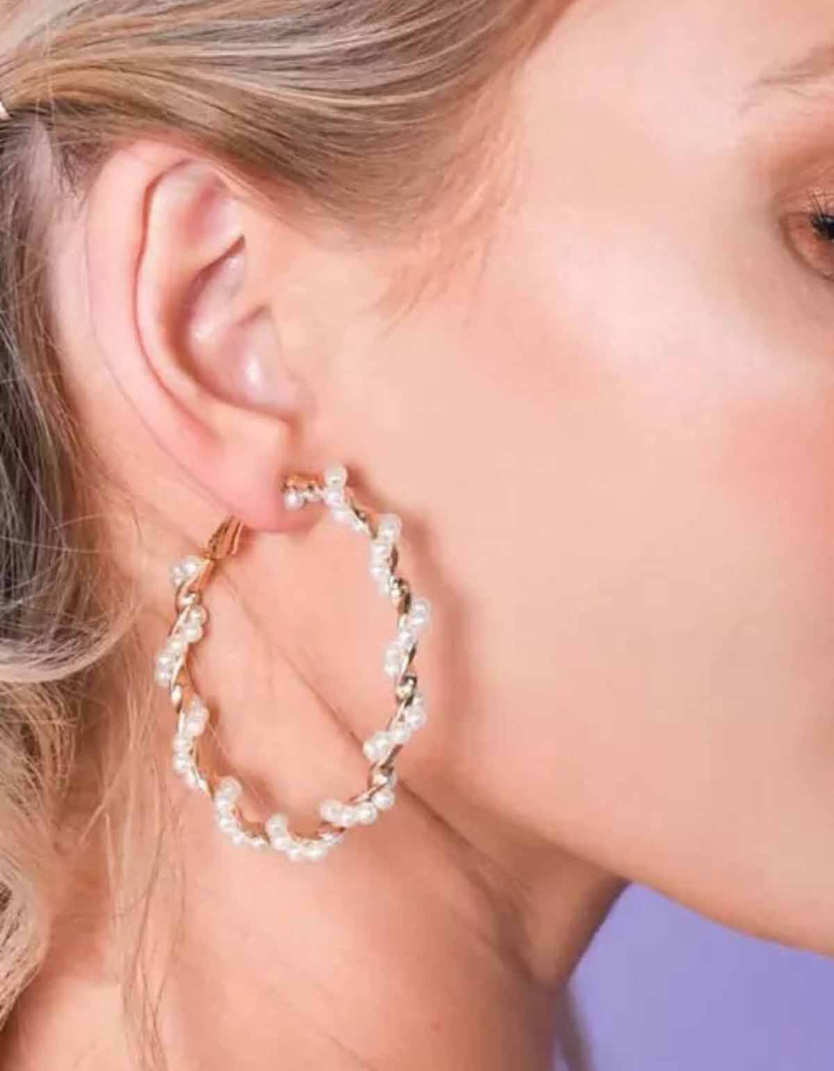 Fashion Jewellery 1 Pair Of Imitation Pearl Large Circle Hoop Earrings For Women
