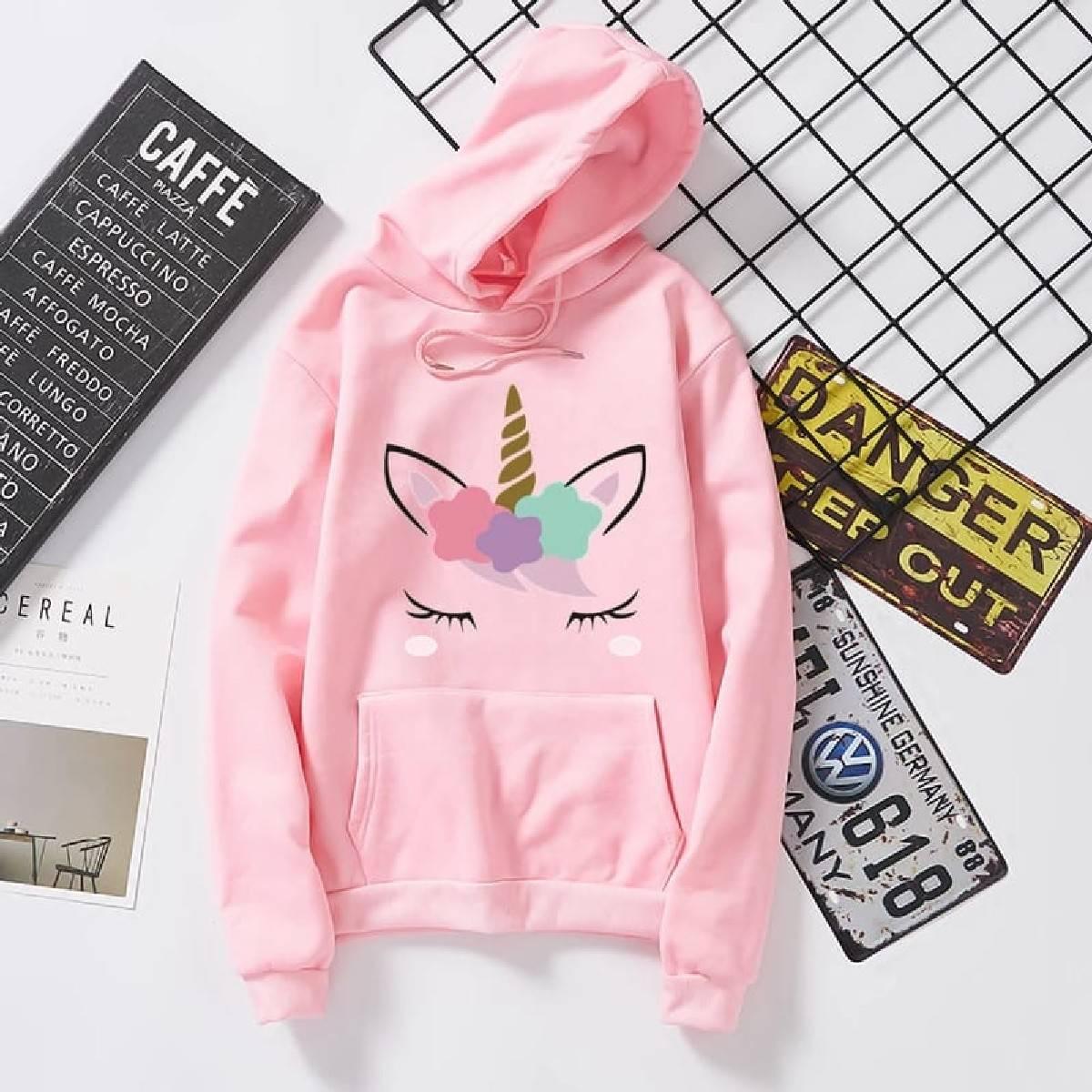 Pink unicorn Printed Hoodies