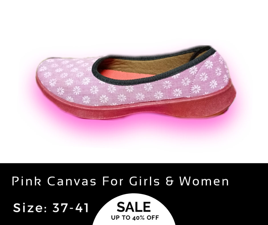Pink Print Canvas Winter Shoes For Ladies