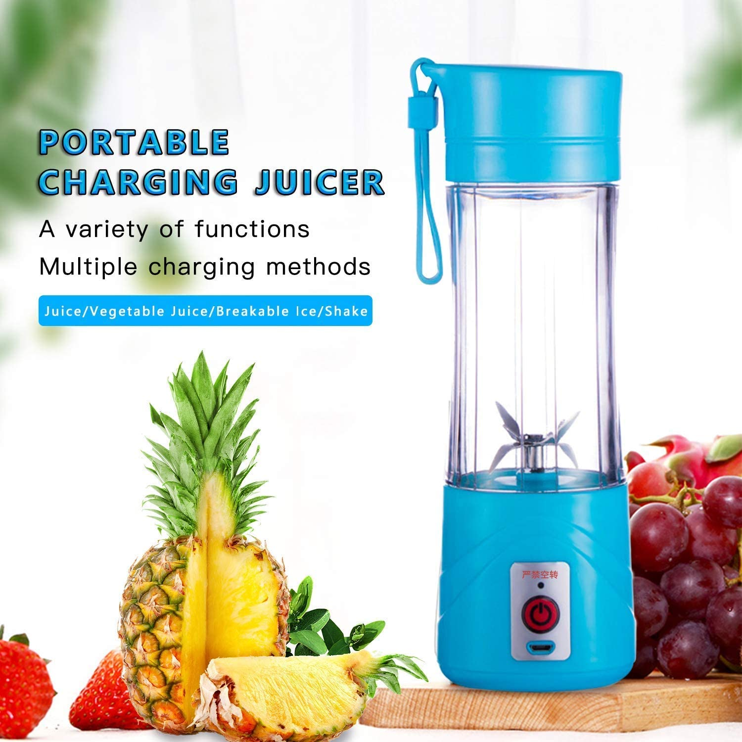 Mini USB Rechargeable Juicer, 380ml Mini Personal Blender Smoothie Maker | 6 Blades portable blender | Muti color USB Rechargeable Juicer Cup Bottle for Home, Office, Sports, Outdoors