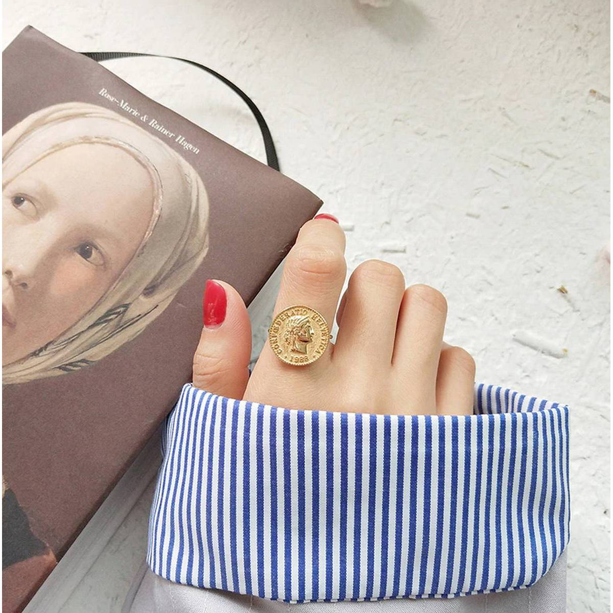 Fashion Jewelry Disc Coin Portrait Rings For Women