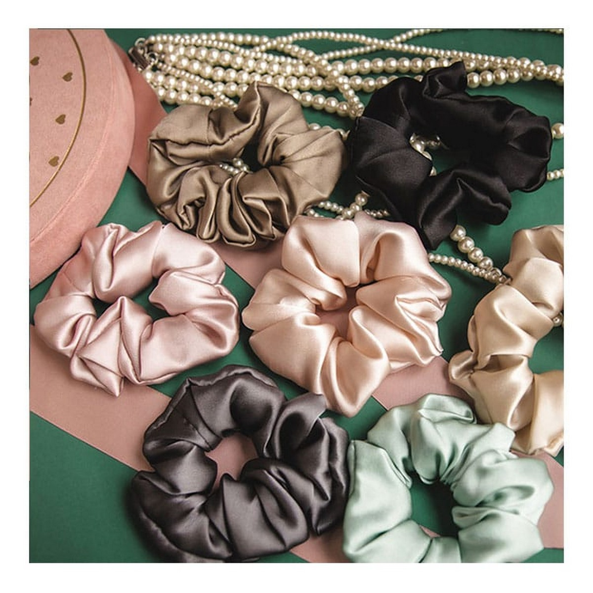 Silk Scrunchies for girl high quality Pack of 5