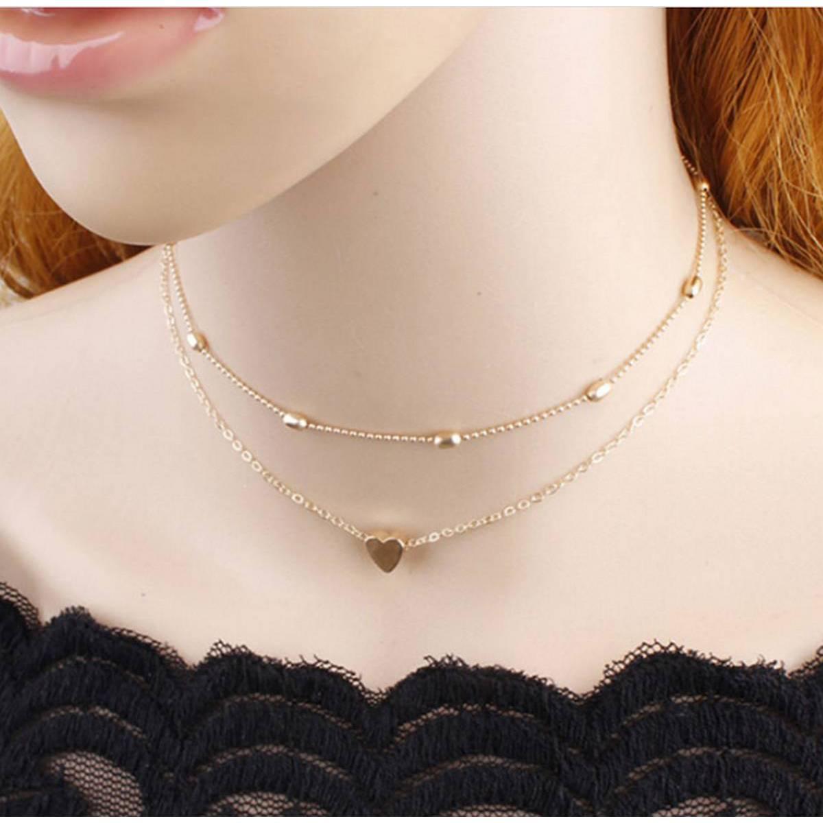 Best Multi Layer Beads Love Heart Choker Necklace For Girls & Womens
