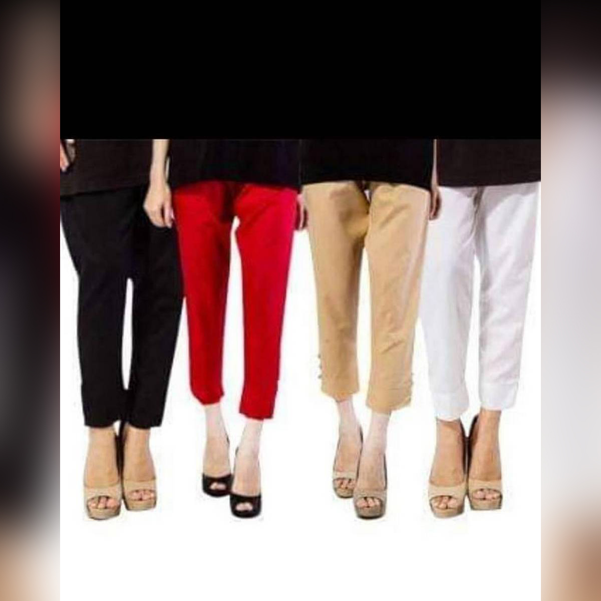 Multicolours Pack of 4 Cotton Trousers For Girls/Ladies Perfect Stitched Fabric